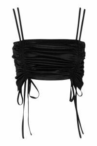 Womens Ruched Stretch Satin Bralet - black - 14, Black