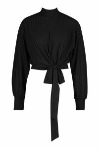 Womens Rib High Neck Tie Front Top - black - 14, Black