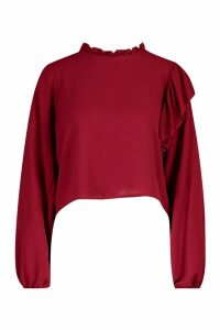 Womens High Neck Frill Detail Long Sleeve Top - red - 14, Red