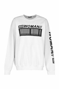 Womens Woman Barcodes Print Sweatshirt - white - M, White