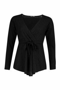 Womens Jumbo Rib Tie Waist Peplum Top - black - 14, Black