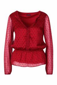 Womens Heart Print Peplum Blouse - red - XS, Red