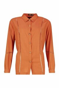 Womens Woven Ladder Trim Detail Shirt - orange - 10, Orange