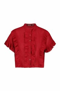 Womens Ruffle Short Sleeved Shirt - red - 10, Red