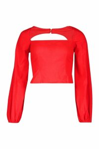 Womens Woven Square Neck Oversized Sleeve Top - red - 8, Red