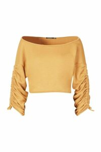 Womens Ruched Sleeve Crop Sweatshirt - beige - 12, Beige