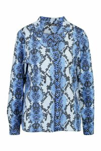 Womens Snake Print Shirt - blue - 8, Blue