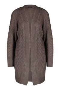 Womens Cable Knit Midi Cardigan - mid grey - XS, Mid Grey