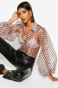 Womens Organza Polka Dot Balloon Sleeve Blouse - pink - L, Pink