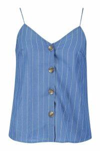 Womens Stripe Horn Button Cami - blue - M, Blue