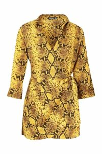 Womens Snake Print Shirt Style Playsuit - yellow - 14, Yellow