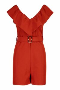 Womens Ruffle Front V Neck Playsuit - orange - 14, Orange