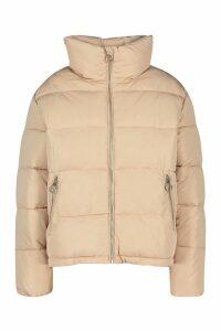 Womens Funnel Neck Puffer Jacket - beige - 10, Beige