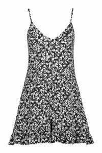 Womens Ditsy Floral Jersey Ruffle Hem Playsuit - black - 14, Black