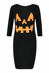 Womens Hayley Pumpkin Print Halloween Bodycon Dress - black - 14, Black