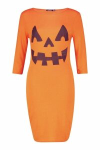 Womens Hayley Pumpkin Print Halloween Bodycon Dress - orange - 14, Orange