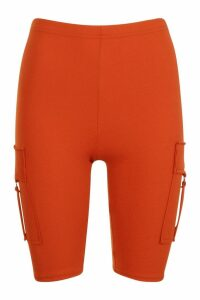 Womens Utility Cargo Pocket Cycling Shorts - orange - 14, Orange