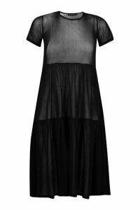 Womens Mesh Oversized Smock Midi Dress - black - 8, Black