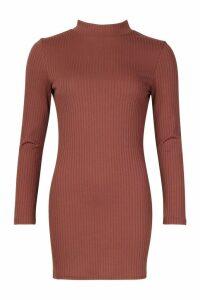 Womens Petite Jumbo Rib High Neck Bodycon Dress - brown - 14, Brown