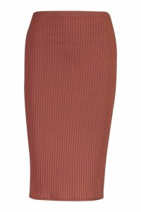 Womens Petite Jumbo Rib Midi Skirt - brown - 14, Brown