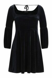 Womens Velvet Double Puff Sleeve Skater Dress - black - 16, Black