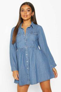 Womens Long Sleeve Denim Shirt Dress - Blue - 12, Blue
