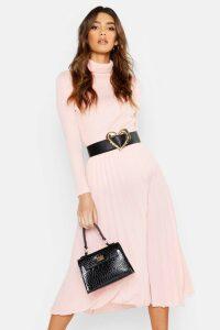 Womens Pleated Midi Skirt - Pink - 14, Pink