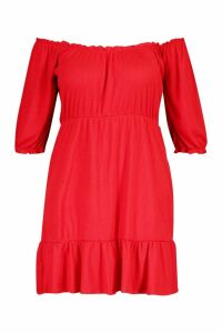 Womens Plus Rib Ruched Ruffle Skater Dress - red - 24, Red