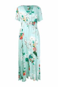 Womens Plus Floral Print Maxi Dress - green - 18, Green