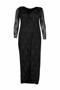 Womens Plus Lace Wrap Front Maxi Dress - black - 16, Black
