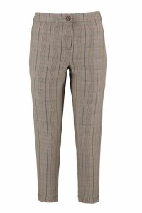 Womens Petite Checked Tapered Trouser - brown - 14, Brown