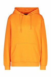 Womens Back Print Slogan Hoodie - orange - 14, Orange