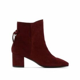 Suede Heeled Ankle Boots with Knot Detail