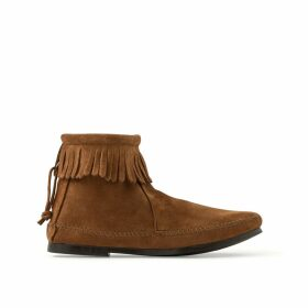 Suede Fringed Ankle Boots