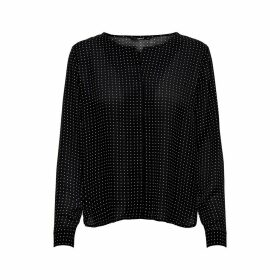 Grandad Collar Blouse in Polka Dot with Long Sleeves