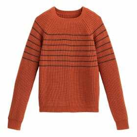 Sparkle Breton Striped Jumper with Crew Neck in Chunky Ribbed Knit
