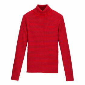 Striped Roll-Neck Jumper in Skinny Rib