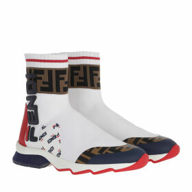 Fendi Sneakers - Logo High Top Sneaker White/Red/Blue - white - Sneakers for ladies