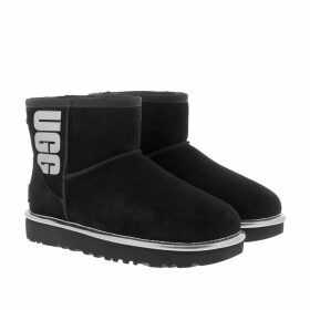 UGG Boots & Booties - W Classic Mini Ugg Rubber Logo Black Metallic - black - Boots & Booties for ladies