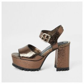 River Island Womens Brown textured cleated platform sandals