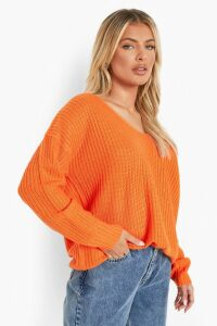 Womens Oversized V Neck Jumper - orange - S/M, Orange