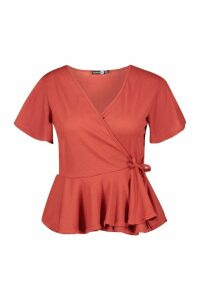 Womens Plus Rib Wrap Cap Sleeve Peplum Top - orange - 26, Orange