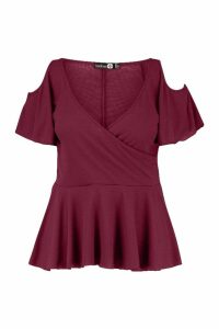 Womens Plus Rib Cold Shoulder Wrap Peplum Top - red - 16, Red