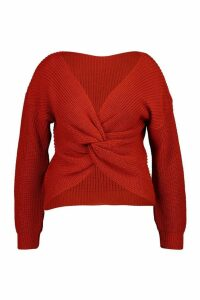 Womens Plus Twist Front Knitted Jumper - orange - 22, Orange