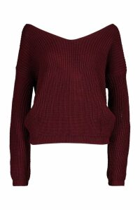 Womens Petite Knot Back Oversized Jumper - red - M/L, Red