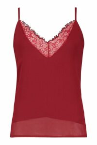 Womens Tall Lace Trim Woven Cami - red - 10, Red