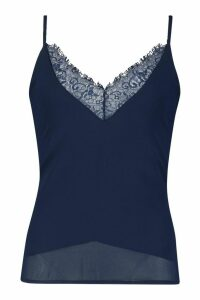 Womens Tall Lace Trim Woven Cami - navy - 8, Navy