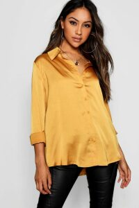 Womens Woven Satin Oversized Long Sleeve Shirt - yellow - 12, Yellow