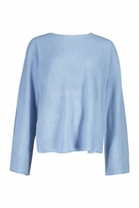 Womens Fisherman Jumper With Flared Sleeve - Blue - M, Blue