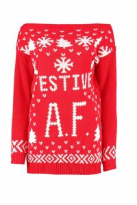 Womens Festive A.F Christmas Jumper - red - S/M, Red